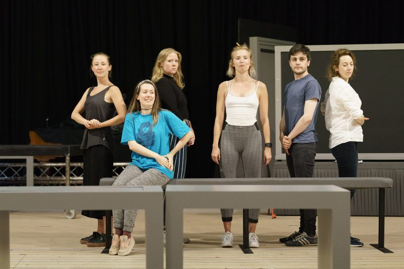 The Divide l-r Erin Doherty, Joanne McGuinness, Letty Thomas, Sophie Melville, Martin Quinn, Clare Lawrence Moody