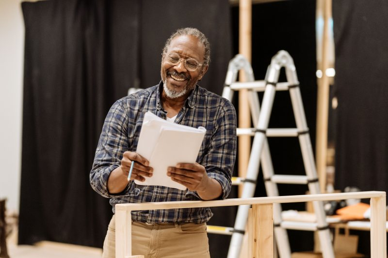 Clarke Peters rehearses for The American Clock