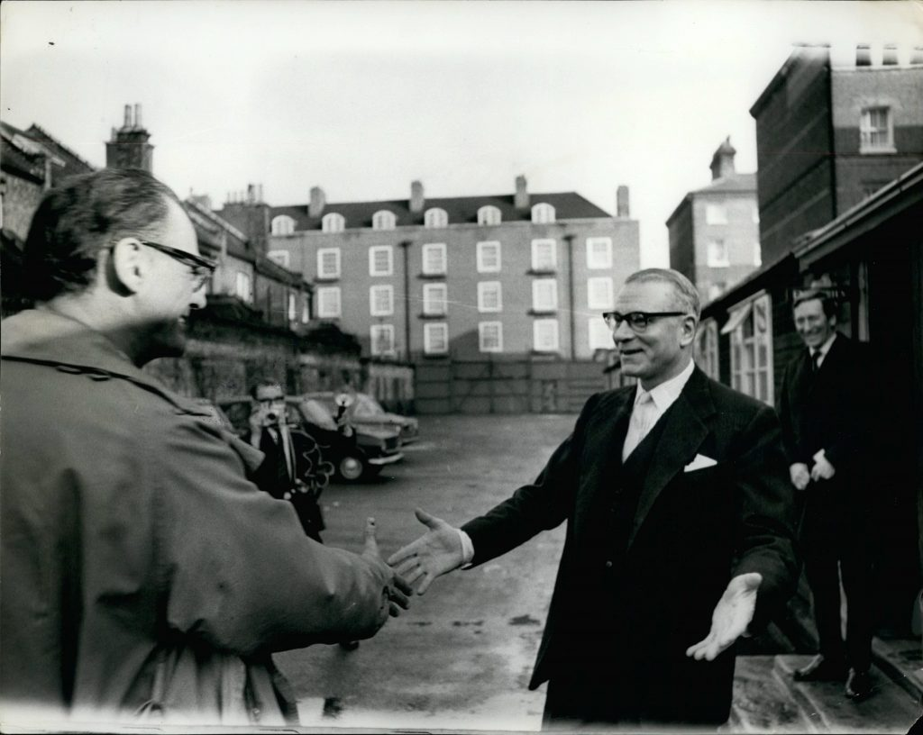 E0X339 Jan. 01, 1965 - The world's greatest actor meets the worlds greats playwright sir Laurence Olivier & Arthur miller. The Meet yesterday the greatest actor and the greatest playwright of our time. Sir Laurence Olivier and Arthur miller. at the officer of the national theater on the themas embankment. The visits by my miller was to see sir Laurence Olivier production of his play the crucible . photo shows Sir Laurence Olivier greets Arthur miller to the office of the national theater after miller had flew in from America.